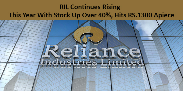 RIL continues rising this year with stock up over 40%, hits RS.1300 apiece