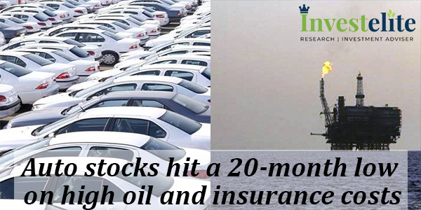 Auto stocks hit a 20-month low on high oil and insurance costs